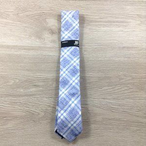 JF J. Ferrar Blue White Plaid Narrow Tie